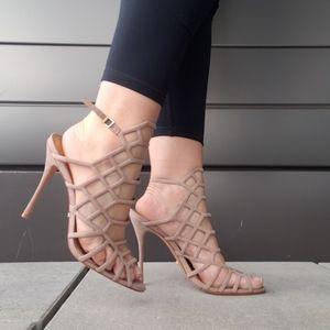 schutz high heel sandals in beige